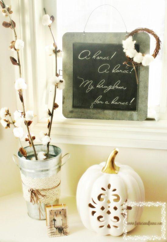 Fall, Home Decor, Cotton Bolls, DIY, Vignettes