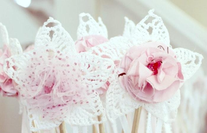 Fairy want craft with diy fabric flowers for a homemade toy.#faeriesandfauna #fairy #fairyparty #crochettoys #lovehandmade