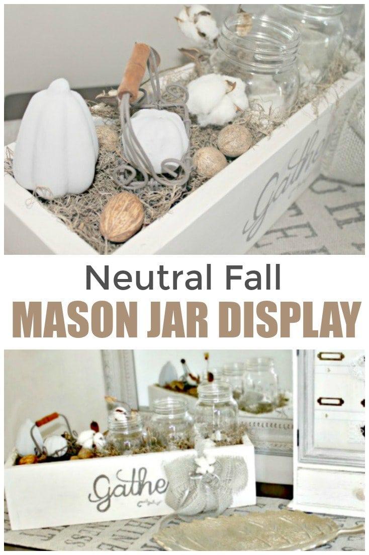 Handmade wood box and mason jar display for fall decorating