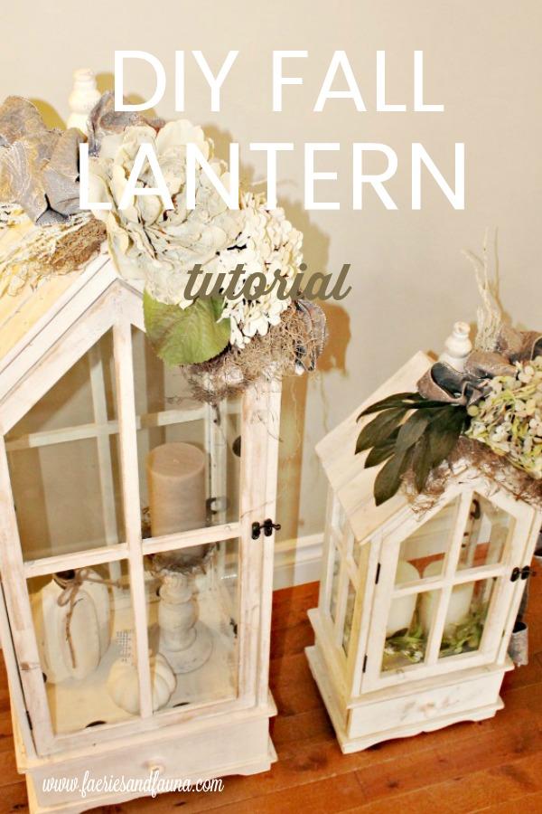 Neutral lanterns with DIY flower arrangements.