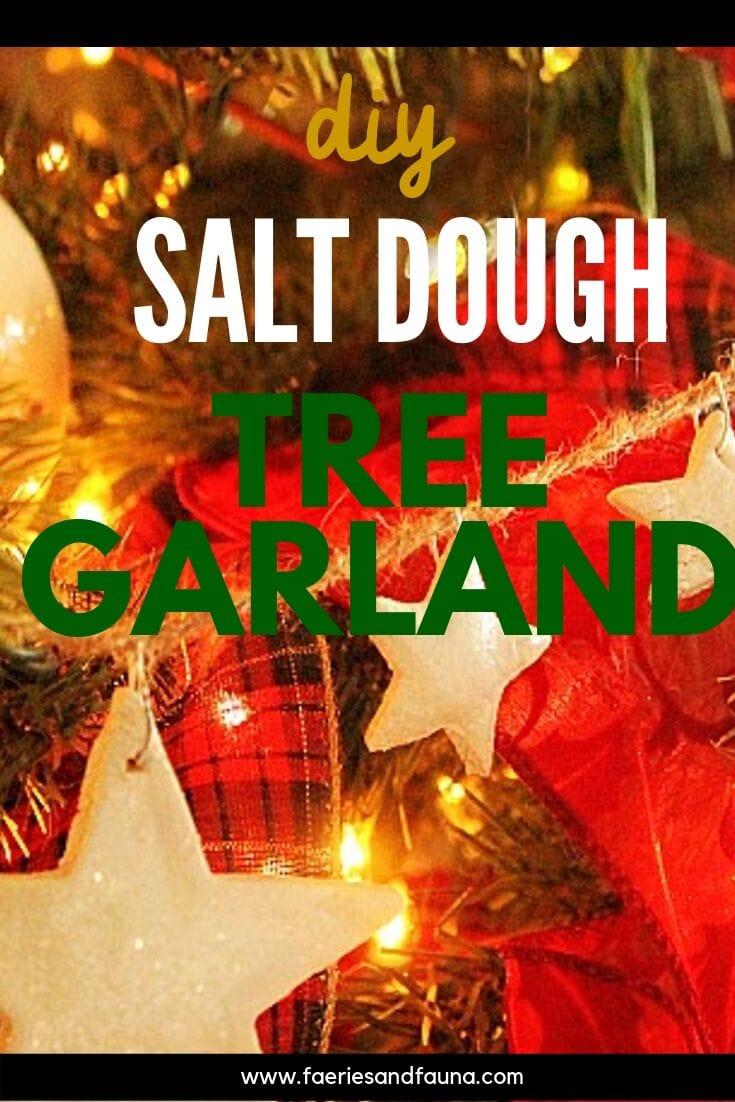 Handmade Salt dough Christmas tree garland. An easy Christmas craft idea.