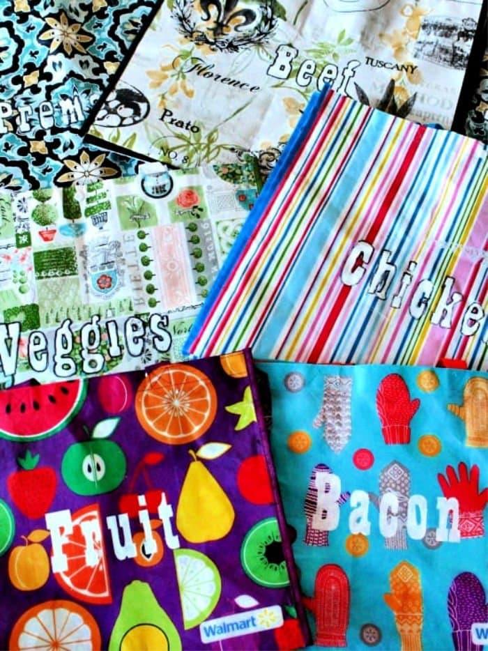 Various freezer organizing bags for chest freezer organizer.