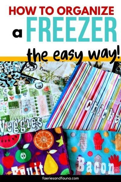 DIY Freezer organizing using large labelled cloth bags.