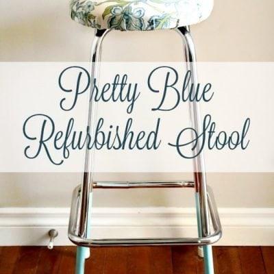 Pretty Blue Refurbished Stool