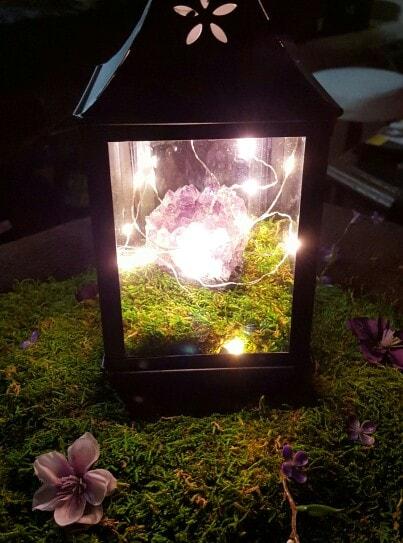 Fall decor ideas, a pretty fall fairy lantern using mini lights.