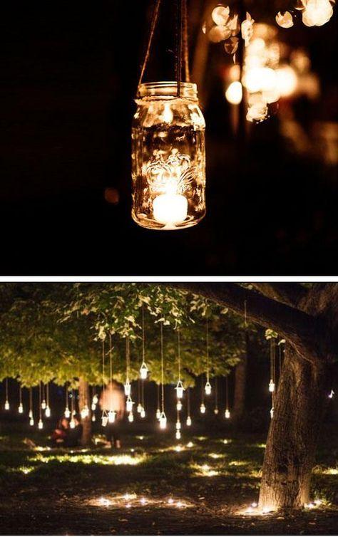 Mason jar lanterns for outdoors. A beautiful fall decor idea for outdoors.