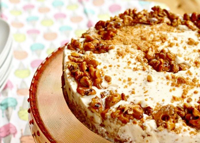 Maple Walnut Ice Cream Cake Recipe. A beautiful summer dessert recipe, or for early fall.