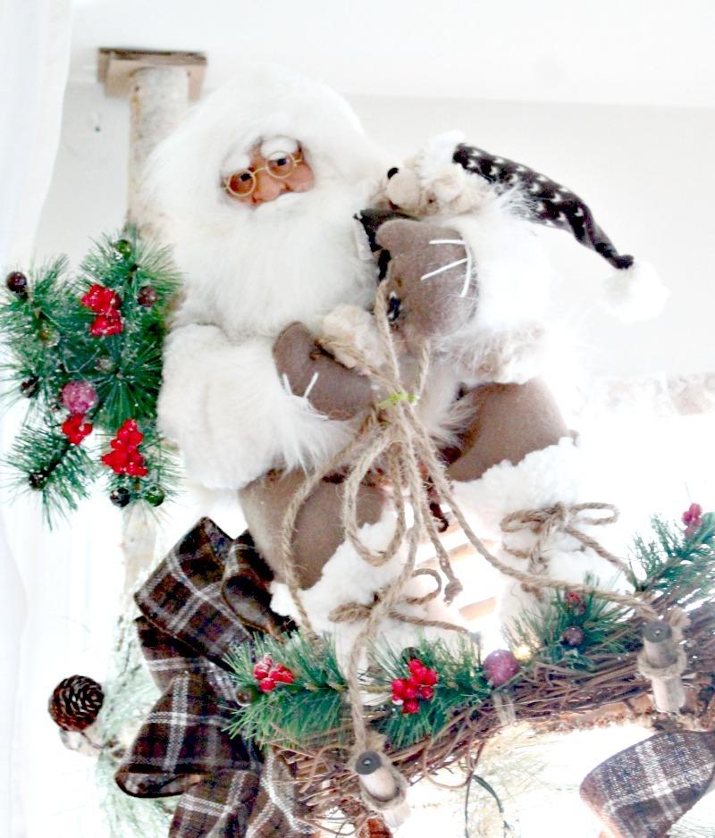 Christmas home tour with a rustic white Santa Claus decoration , Christmas House, Christmas Home, Christmas house tour
