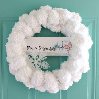 DIY Christmas Wreath with Snowball Pom Poms