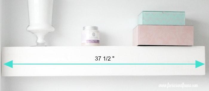 The front of a DIY bathroom shelf.