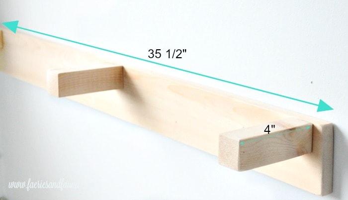 Measurements for the bracket of a DIY shelf