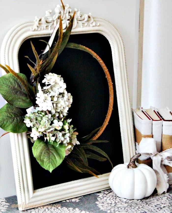 Elegant fall minimalistic wreath on a chalkboard for fall decor.
