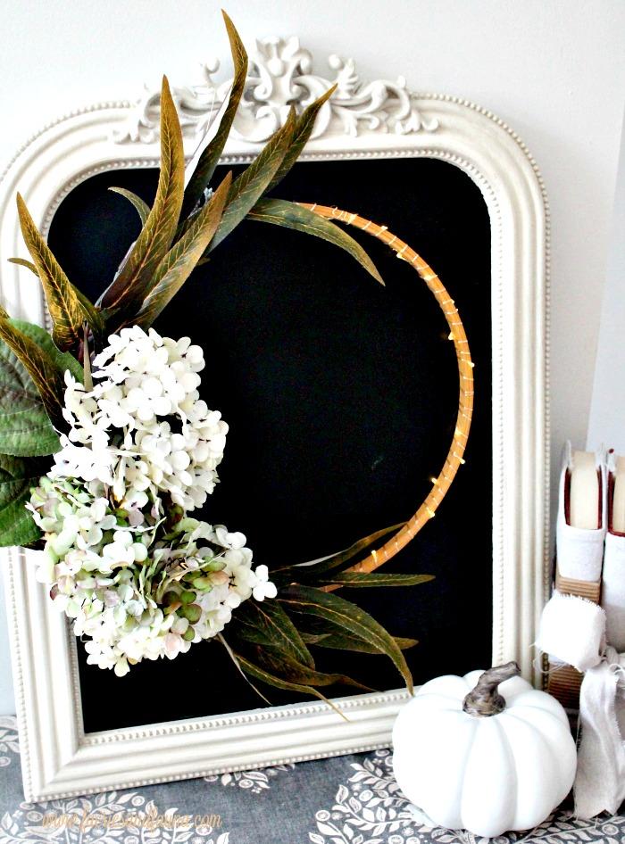 Hydrangea fall wreath, minimalist style with a chalkboard background.