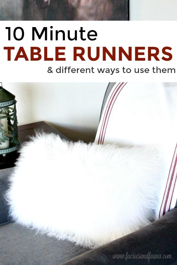 Handmade Farmhouse style table runner on a chair