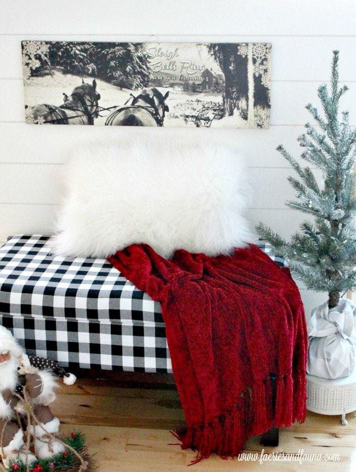 A buffalo check reupholstered bench for Christmas.