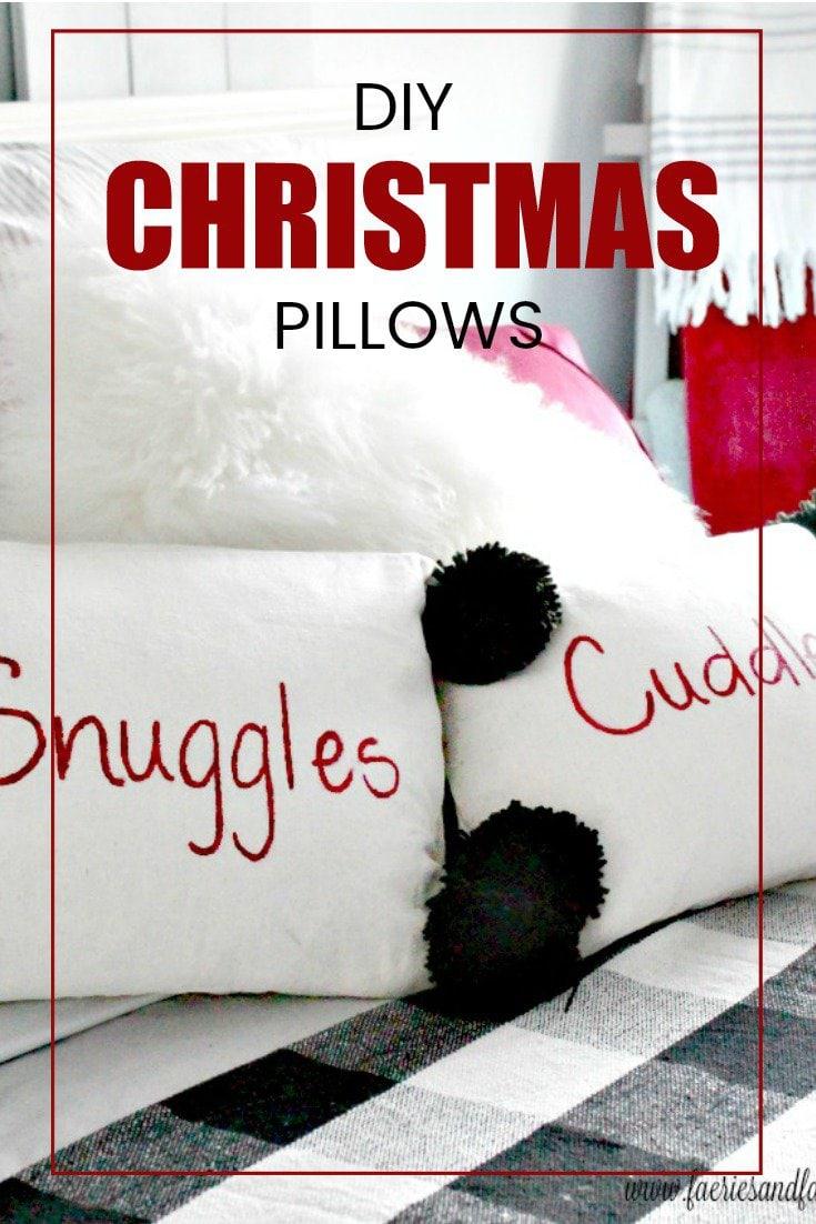 DIY Christmas Cushions with Black Pom Poms on a Buffalo Check bedding