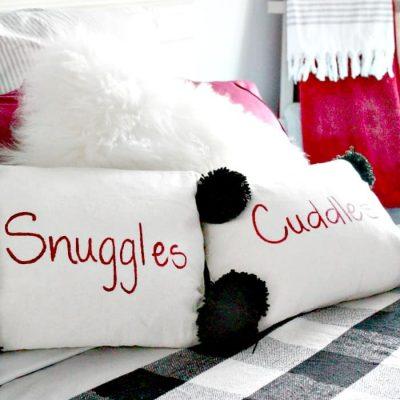 DIY  Pillow Cover with Pom Poms for Christmas