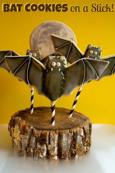 Vampire Bat Cookies on a Stick a cute Halloween treat for kids.