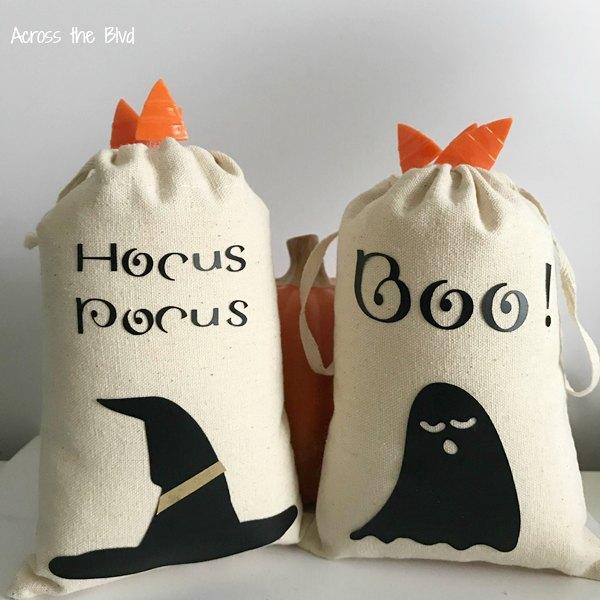 Halloween themed DIY canvas bags