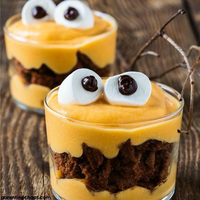 Halloween treat for kids Monster Pumpkin Pudding
