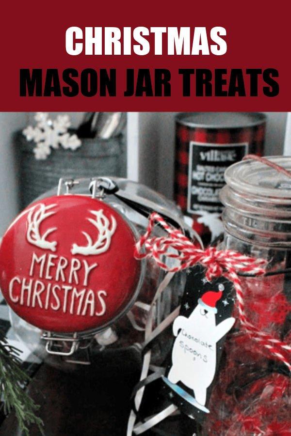 Christmas Mason Jars full of homemade chocolate treats for a Hot Chocolate Bar