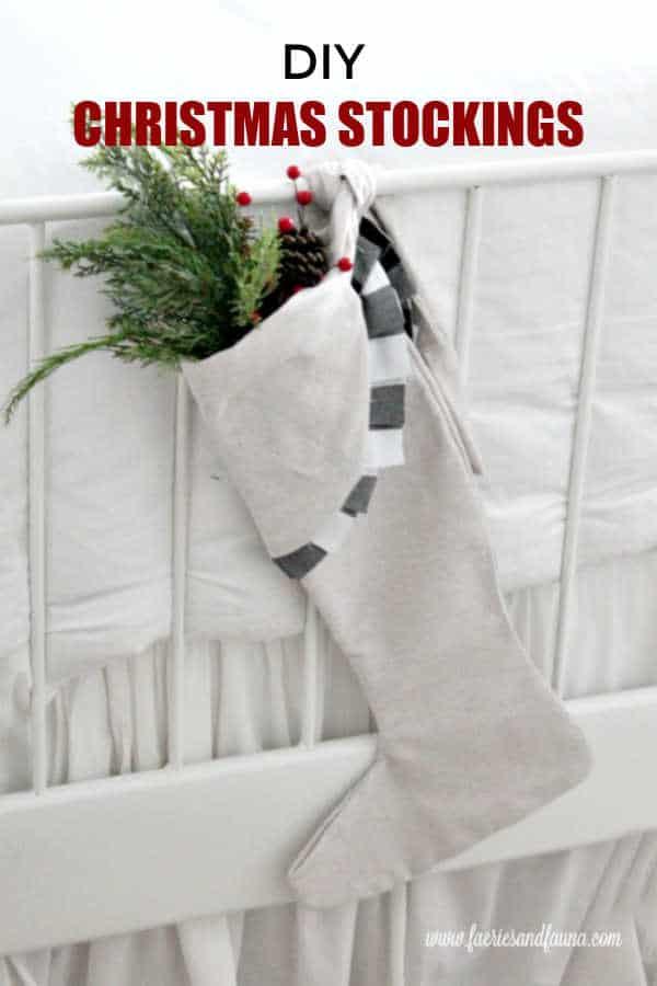 White and Buffalo Check Farmhouse Christmas Stocking