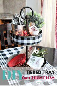 DIY Buffalo check centerpiece for the kitchen table in a farmhouse style