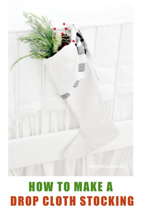 How to make a Christmas stocking using dropcloth and buffalo check