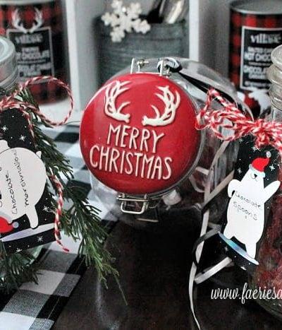 Three mason jars on a hot chocolate bar
