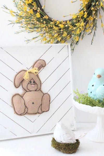Easter decor home made burlap bunny.