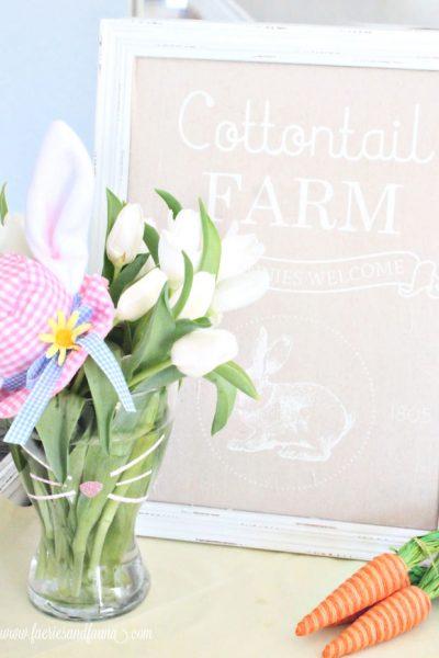 An adorable Easter Bunny tulip arrangement for Spring.