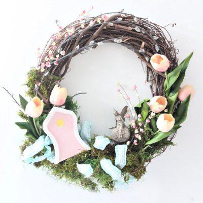 DIY Colourful Spring Wreath with Fairy Garden