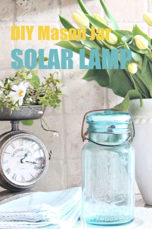 Turquoise blue DIY mason jar solar light craft.