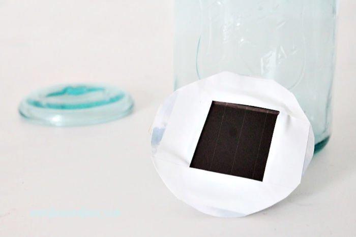 Upper solar panel on a mason jar light craft