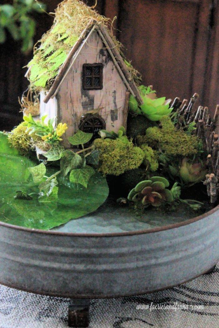 A homemade fairy pond centerpiece