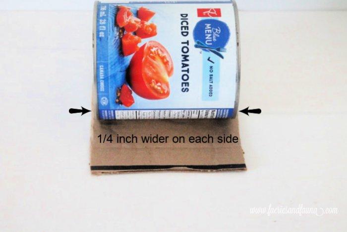Making a custom sized can organizer using cardboard.