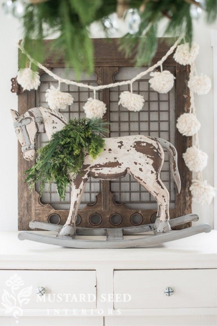 Rocking horse makeover for Christmas decor