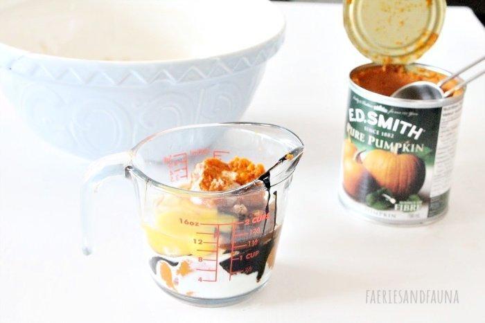 Mixing wet ingredients for pumpkin cinnamon swirl scone recipe