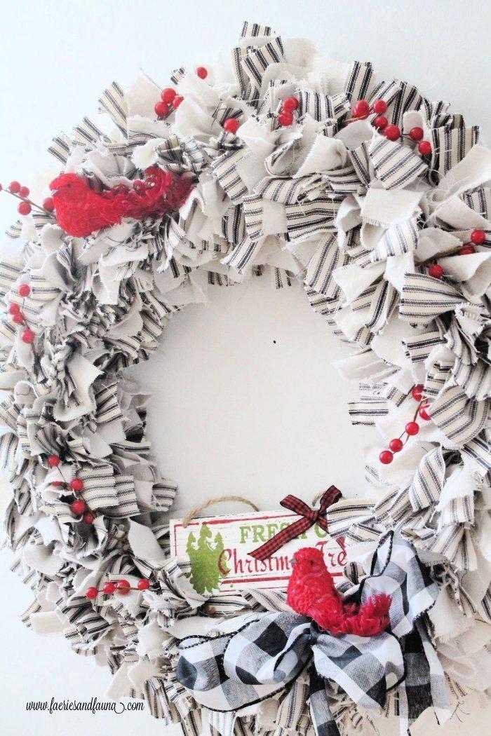 A DIY Christmas Rag wreath.