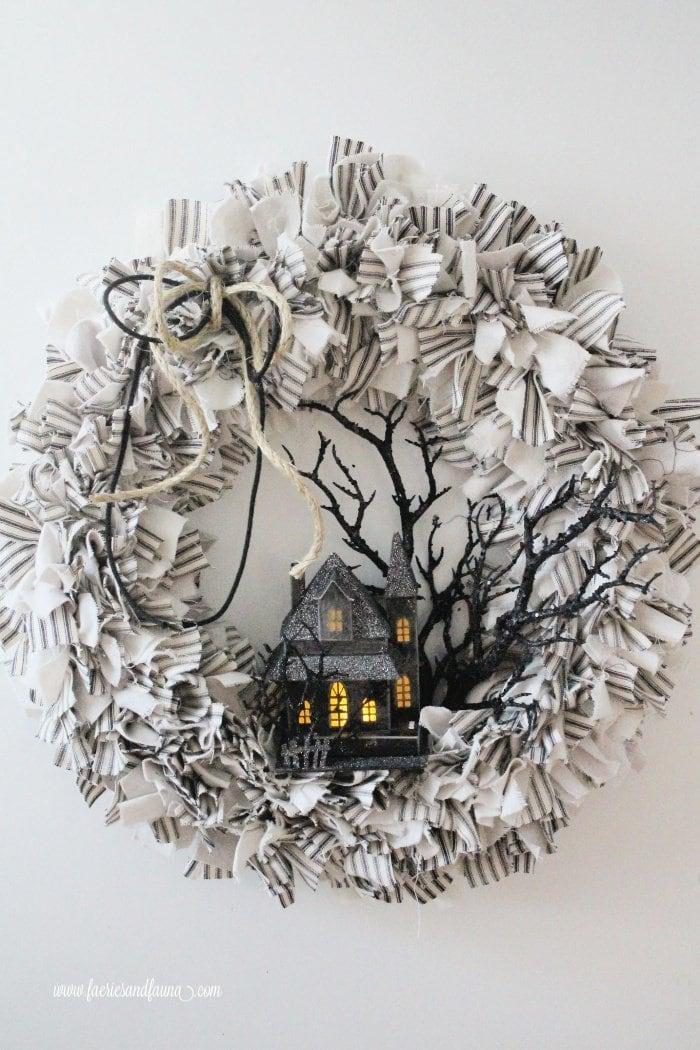A Halloween rag wreath craft.