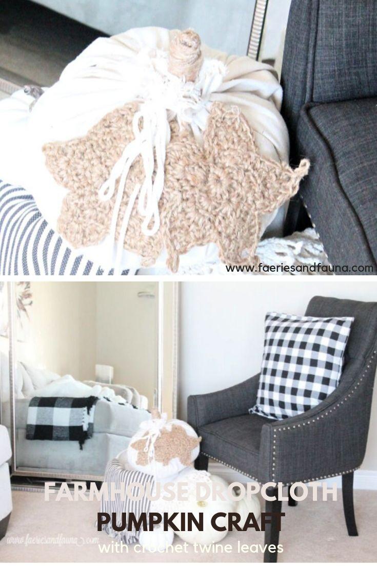 DIY Dropcloth Fabric Pumpkin Fall Craft Idea. A modern farmhouse craft for cheap