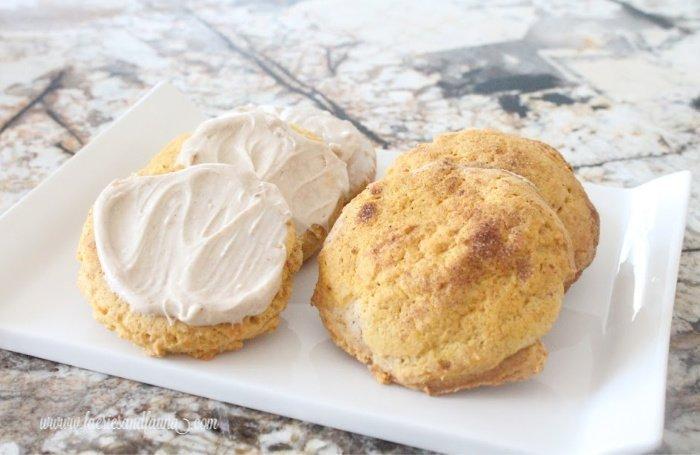 Pumpkin Sugar cookies with maple cream cheese icing and pumpkin cookies with cinnamon sugar.