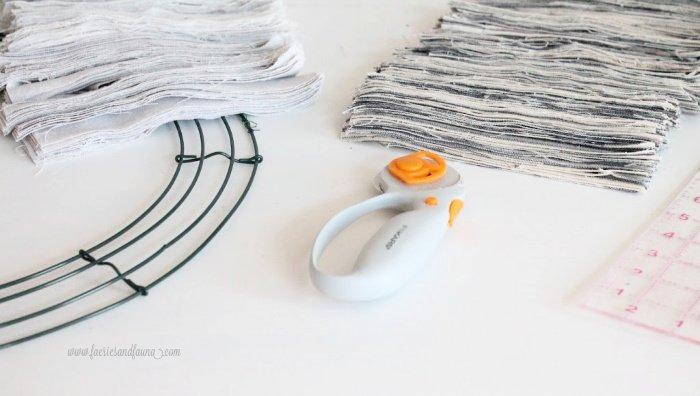 Supplies for making a fabric rag wreath