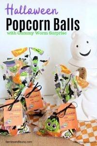 Ten minute popcorn balls for Halloween. Easy Halloween treats for kids
