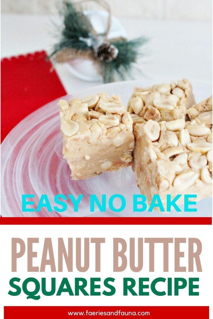 Easy no bake Peanut bar recipe featuring a fudgy center