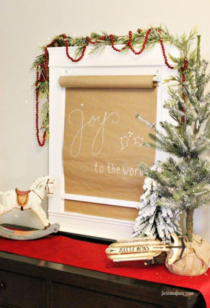 A handmade Farmhouse Scroll Art for Christmas Craft