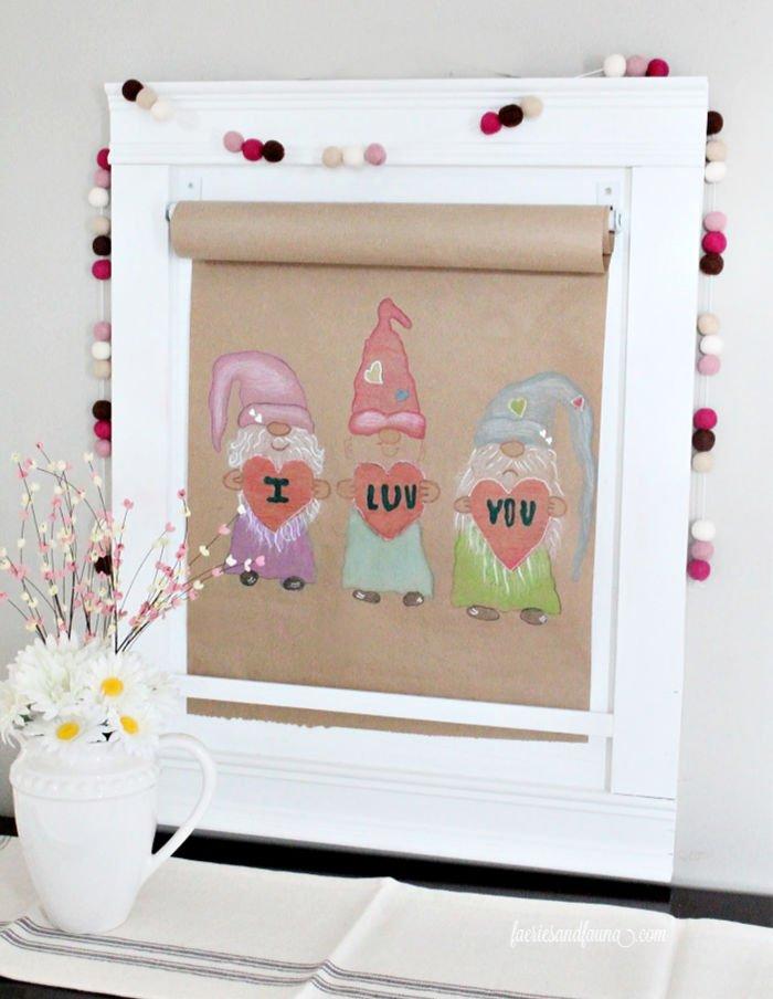 A DIY scroll art for Valentines.