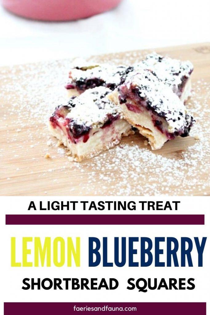 Easy lemon blueberry bar recipe with shortbread crust.