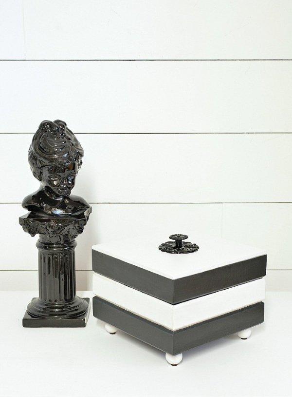 Whimsical Black and White Trinket Box Upcycle