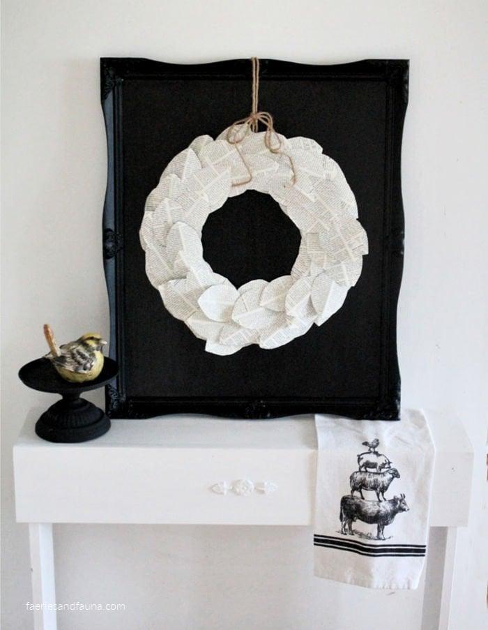 DIY Book page wreath and DIY chalkboard wreath tutorial.